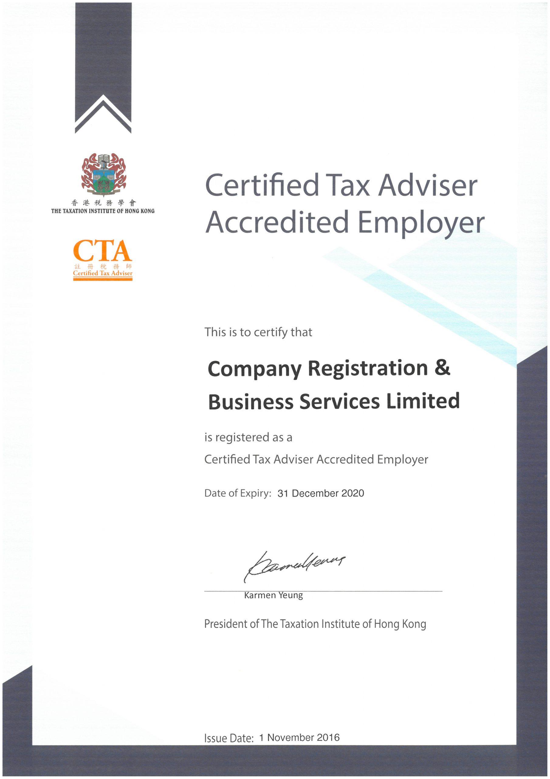 CTA Certificate